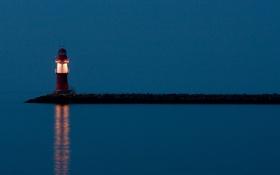 Картинка море, свет, берег, маяк, вечер, мыс