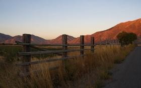 Картинка дорога, трава, горы, фото, настроение, рассвет, пейзажи