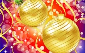 Обои шарики, огни, праздник, блеск, рождество, серпантин