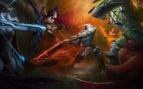 Картинка арт, сражение, демоница, Queen, Dota 2, Akasha, Drow Ranger