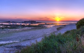 Картинка море, пейзаж, закат, France, Brittany, Fort Bloqué