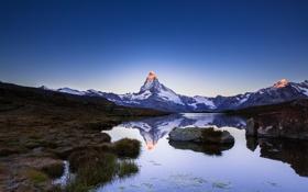 Картинка горы, озеро, отражение, гора, Альпы, Маттерхорн