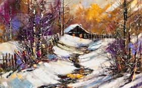 Обои зима, снег, деревья, забор, домик, Краски
