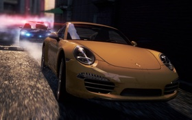 Картинка гонка, полиция, погоня, Porsche, спорткар, need for speed most wanted 2