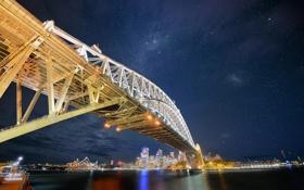 Обои звезды, ночь, мост, город, Австралия, Сидней