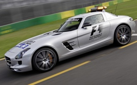 Обои Mercedes-Benz, supercar, AMG, SLS, speed, track, Safety Car