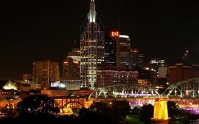 Картинка деревья, ночь, город, огни, дома, USA, США