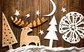 Картинка звёзды, месяц, олень, картон, ёлки, снежинка, поделки