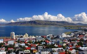 Картинка Reykjavik, Iceland, залив, Рейкьявик, Исландия, горы, море