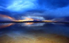 Картинка небо, вода, озеро, залив