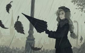 Обои осень, листья, девушка, дождь, зонт