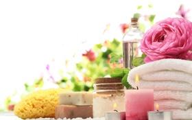 Обои relax, bath, спа, candle, spa, salt, towel