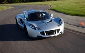 Обои машина, суперкар, в движении, передок, Hennessey, Venom GT