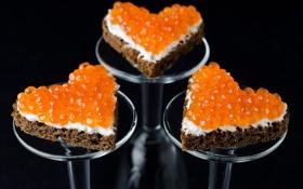 Картинка a delicacy, Food, hearts, sandwiches, caviar