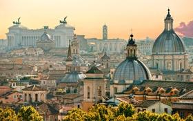 Обои деревья, город, здания, дома, крыши, Рим, Италия