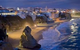 Обои побережье, дома, Portugal, Albufeira