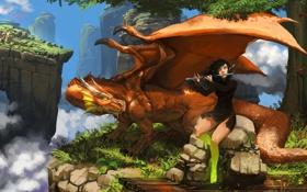 Обои девушка, облака, горы, дракон, высота, арт, эльфийка