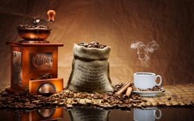 Обои кофе, корица, кофейные зерна, аромат, кофемолка