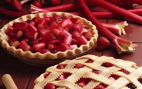 Обои сладость, клубника, пирог, ревень