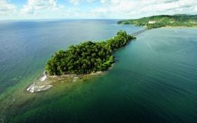 Обои мост, пальмы, океан, островок, материк, соединение