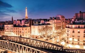 Картинка свет, машины, ночь, мост, город, огни, Франция
