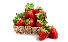 Обои ягоды, клубника, корзинка, strawberry, fresh berries