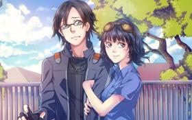 Обои девушка, улыбка, очки, Парень