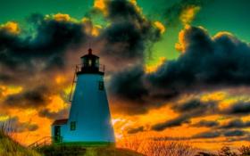 Картинка небо, облака, маяк, зарево