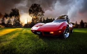 Обои небо, природа, corvette, корвет