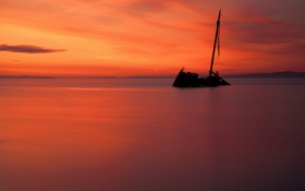 Картинка закат, корабль, море