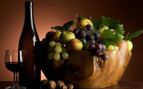 Обои ягоды, вино, яблоки, бокал, бутылка, виноград, фрукты