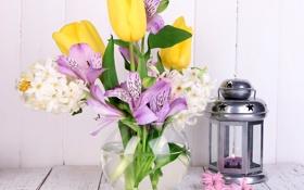 Обои Фонарь, Альстрёмерия, Цветы, Тюльпаны, фото, Ваза, Гиацинты