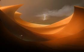 Обои молния, пустыня, человек, скафандр, зонд