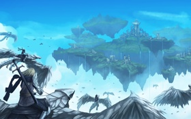 Обои город, водопад, драконы, меч, войны, арт, спиной