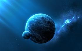 Обои галактика, свет, планеты