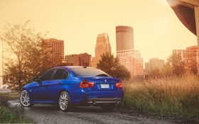 Картинка город, бмв, BMW, синяя, blue, Sport, E90
