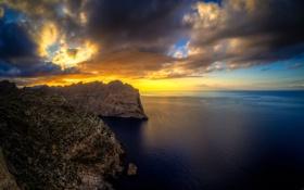 Обои скалы, небо, остров Майорка, Испания, Балеарские острова, Средиземное море