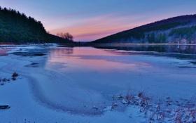 Картинка зима, снег, деревья, горы, река, river, trees