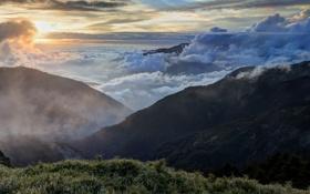 Картинка небо, трава, облака, пейзаж, горы, туман, вершина
