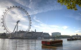 Обои city, город, фотограф, photography, Lies Thru a Lens, London Eye at Dawn