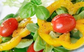 Обои листья, жёлтый, помидор, yellow, leaves, салат, паприка