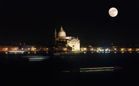Картинка ночь, огни, луна, Италия, Венеция, собор, канал