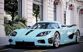 Картинка blue, Special One, supercar, building, Koenigsegg, CCXR, street