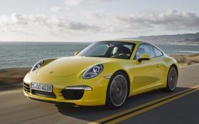 Картинка дорога, небо, желтый, побережье, купе, 911, суперкар