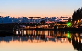 Картинка мост, город, огни, река, ротердам