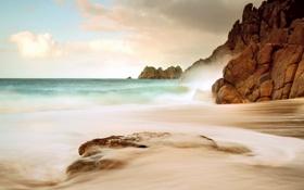 Картинка море, облака, скалы, камень, волна, день