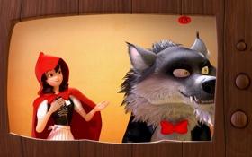 Обои мультфильм, волк, красная шапочка, приключение, 7-ой гном, Der 7bte Zwerg