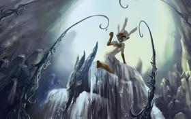 Картинка скалы, бабочка, водопад, монстр, существо, девочка