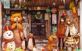 Обои зима, мир, одежда, девочки, пингвины, медведь, жираф