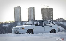 Обои зима, машина, авто, стройка, дома, белая, auto
